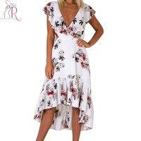Navy Blue And White V Neck Floral Print High Low Hem Ruffles Backless Midi Dress Women