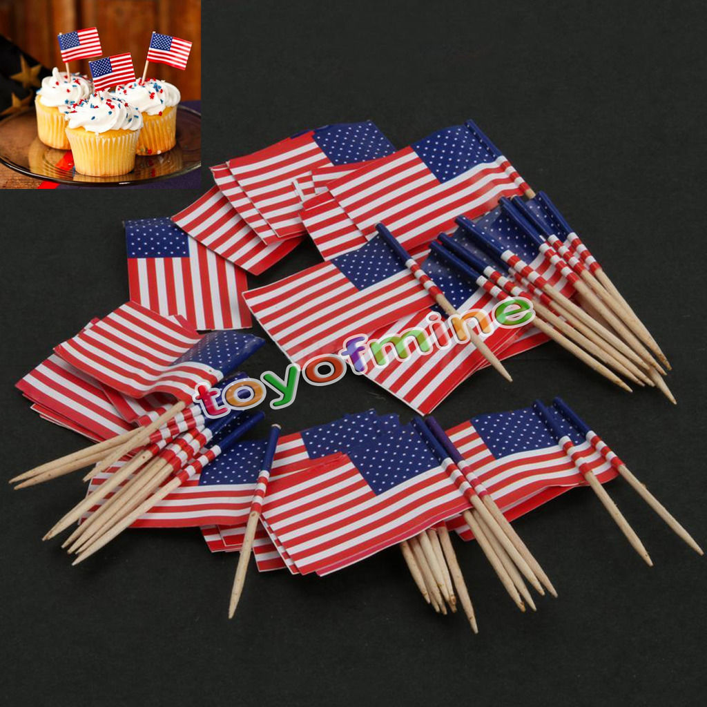 50pcs birthday party american usa flag cupcake topper food for Decoration sticks
