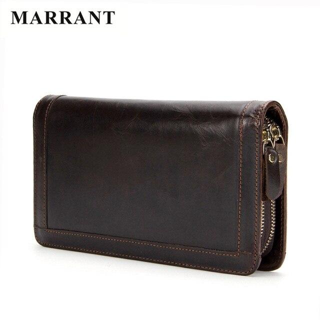 MARRANT Famous Brand Genuine Leather Men Wallet Fashion Men Clutch Bag Business Double layer Zipper Men Purse Handbags Card Hold