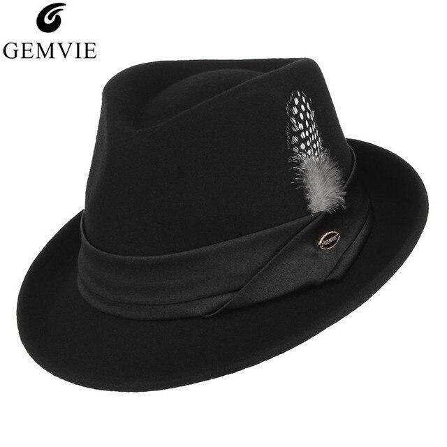 d0f23d13375cf GEMVIE estilo británico hombres Jazz sombrero 100% lana Fedora para hombres  mujeres Vintage curva ala