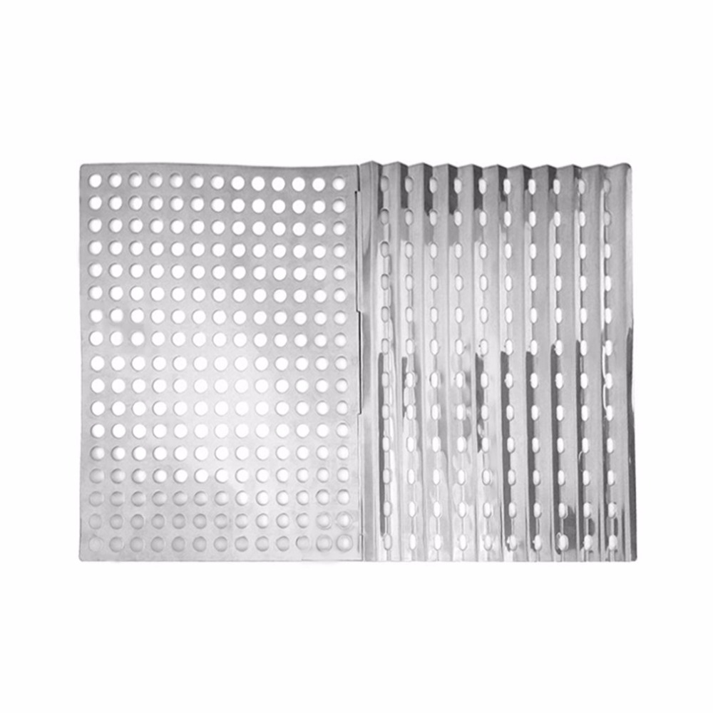 OUTAD 2 Pcs Outdoor Portable Stainless Steel Foldable Fast Heating Ultra Light Mesh Barbecue Grilling Picnic Cooking Grid Tools