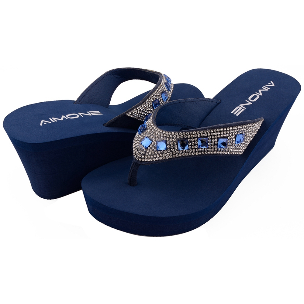 42a895fdb0e97 AIMONE Summer Woman Shoes Platform bath slippers Wedge Beach Flip Flops  High Heel Slippers For Women Brand Navy Ladies Shoes -in Flip Flops from  Shoes on ...