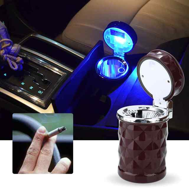 Luxury Car Accessories Portable LED Car Ashtray High Quality Universal Cigarette Cylinder Holder Car Styling Mini carro cinzeiro