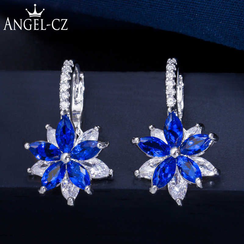 ANGELCZ Korean Fashion Jewelry Roayl Blue Cubic Zircon Crystal Small Flower Cute Stud Earrings for Women Party Accessories AE246