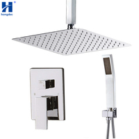 Hongdec Luxury 12 Rain Shower Ceiling Mount Shower System Rainfall Set Chrome