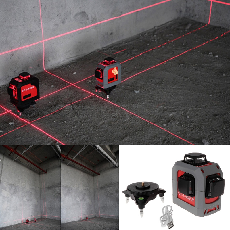 <font><b>3D</b></font> <font><b>Laser</b></font> <font><b>Level</b></font> 360 Degree <font><b>12</b></font> <font><b>Line</b></font> Self-Leveling Tool 65ft 20m for Construction image