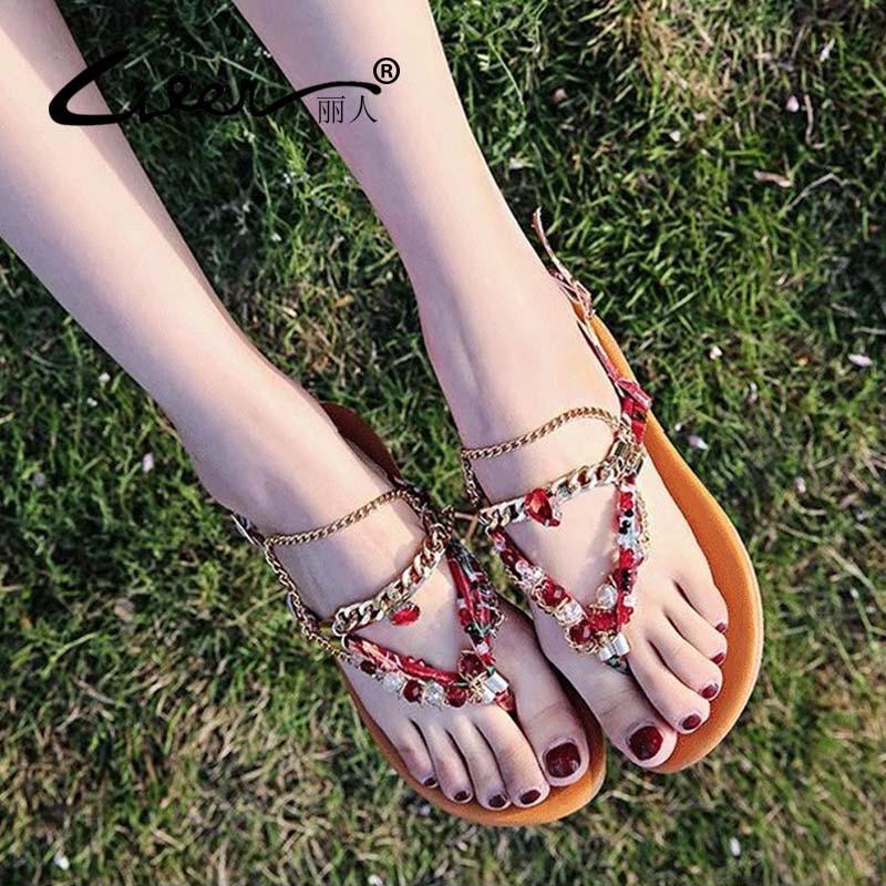 2018 neue Frauen Sandalen Sommer Bohemia Flachen Sandalen Mode Strass - Damenschuhe