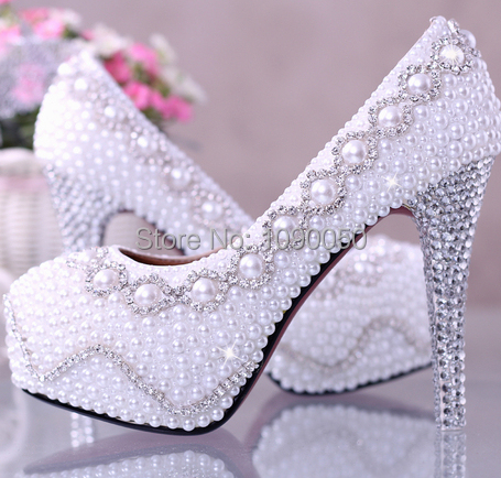 12/14cm pearl wedding shoes bride waterproof crystal high-heeled diamond nightclub performances womens pumps Eur34-39
