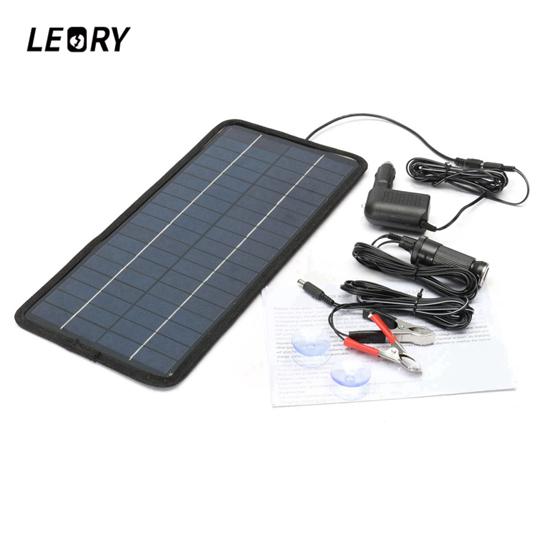 LEORY 12V 8W Solar Panel Monocrystalline Solar Cells Charger For Car Campers Boats