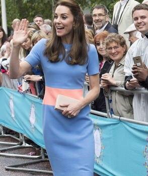 3bdb991050 Nueva Kate Middleton princesa vestido de moda vintage mujer azul o-Cuello  vestidos de B2253