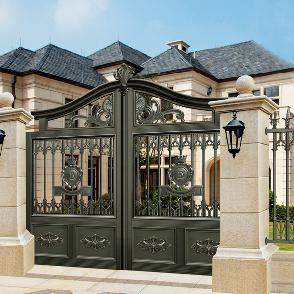 17 Elegant Gates To Transform Your Yard Into Inviting Place: Ink Black Villa Outside Gate, Flowers Carving Security