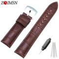ZLIMSN 30mm (Buckle 24mm) Brown Genuine Leather Watchbands Watch bands Strap Stainless Steel Buckle TG108b relogio