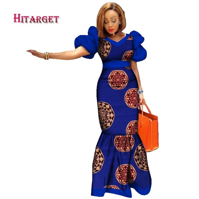 56e8b4f5ed429 2019 New Bazin Riche African Dresses for Women Print Splice Puff Sleeve  Long Dresses African Dashiki Women Clothing WY2494