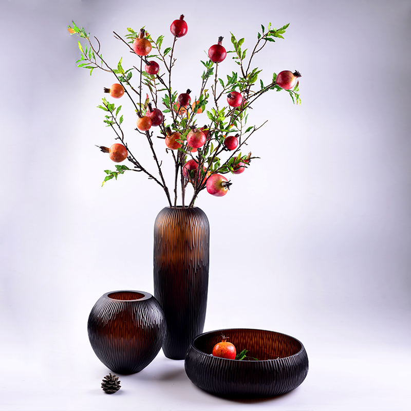High quality Glass colored floor Carved vase for home decoration accessories decor Tabletop vases for flowers