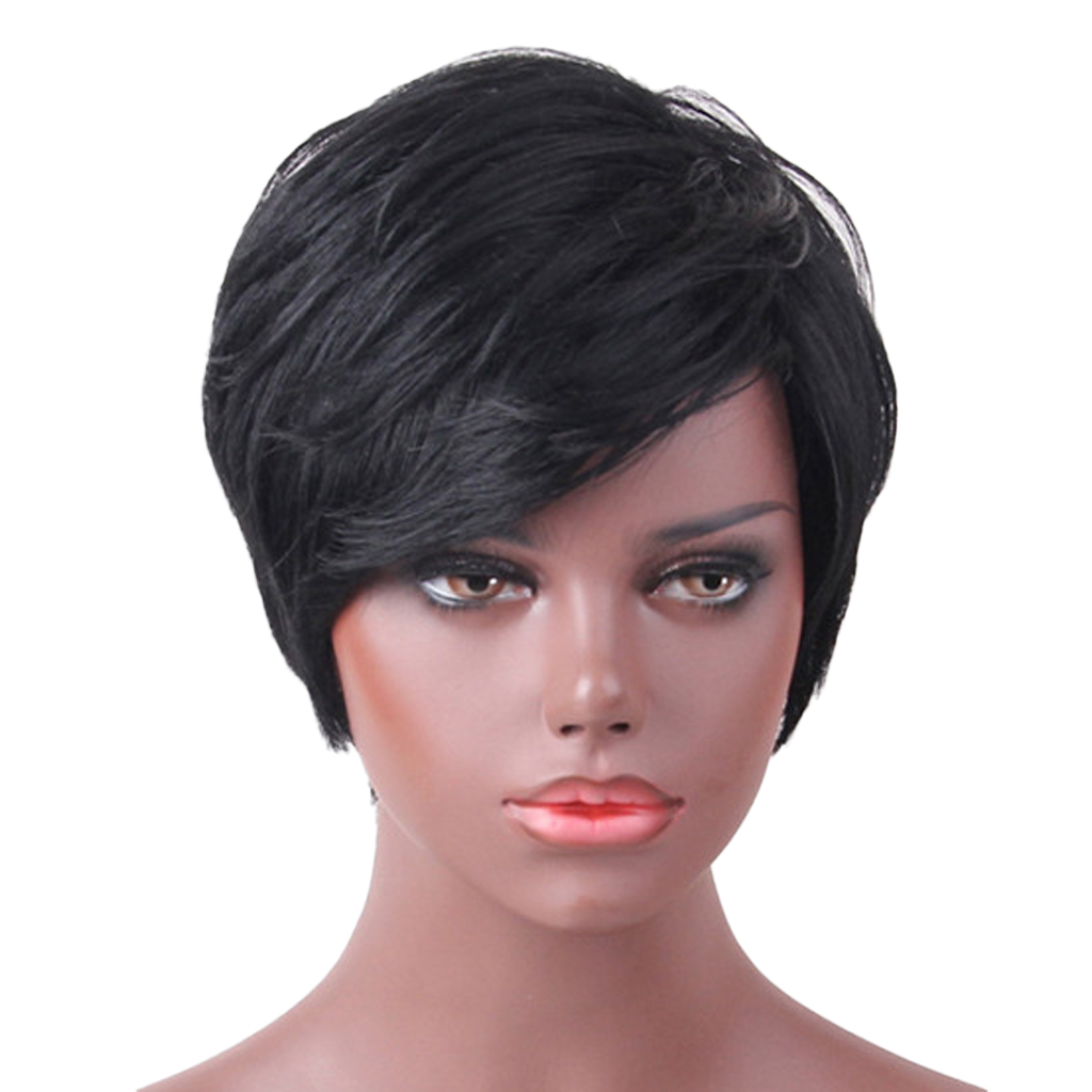 цены Women Natural Short Straight Wig Human Hair Black Pixie Cut Wig Side Bangs