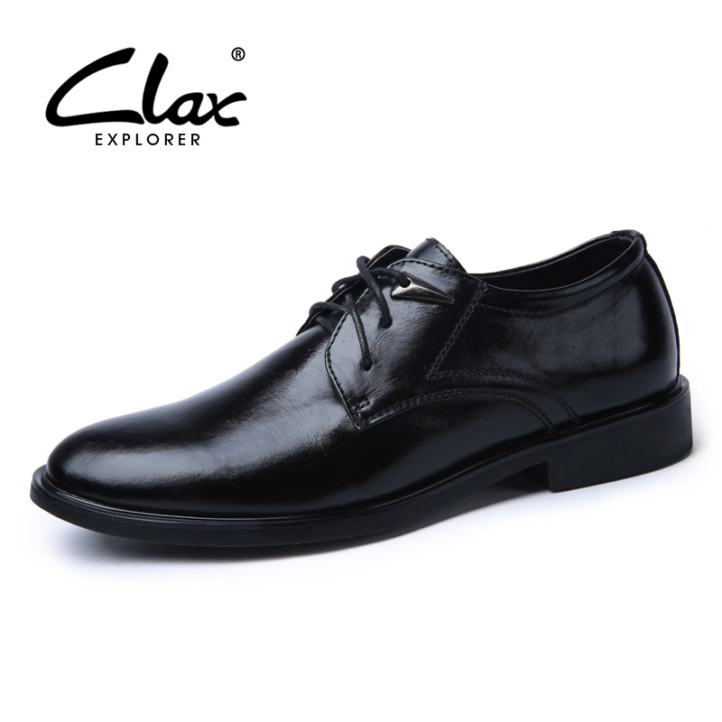 CLAX Mens Formal Shoes Genuine Leather Spring Autumn Office Shoes Male Black Leather Dress Shoe Classic