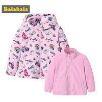 Balabala Grils 2 in 1 Outdoor Jacket Printed with Detachable Fleece Liner Jacket for Children Kids Toddler Windbreker for Autumn