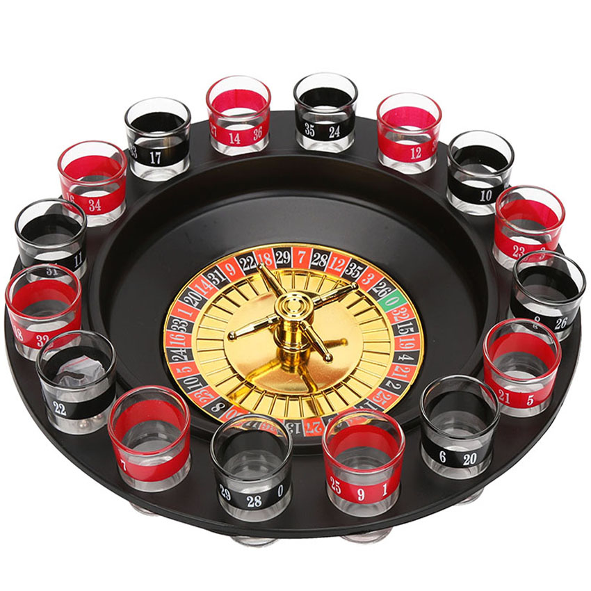 16 Shot Glass Deluxe Russian Spinning Roulette Poker Chips Drinking Game Set Party Supplies Wine Games for Adult Drinken Game image