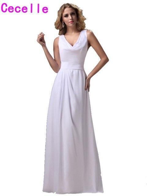 Einfache Weiße Lange Brautjungfern Kleider A line Sleeveless Chiffon ...