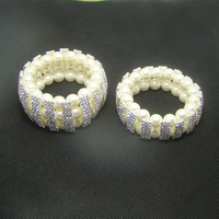 NEW 2017 stock fashion silver rhinestone 2 or 3rows ivory pearl elastic bracelet bridal jewelry accessories 120pc lot free ship