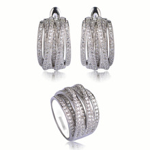 Luxury Wedding Jewelry Sets Wide Ring&Stud Earrings For Women Gold Silver Color Zircon Copper Gioielli Engagement Aros Brincos