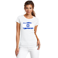 BLWHSA Israel National Flag Print Fashion T Shirt For Women Round Neck Short Summer Cotton Top