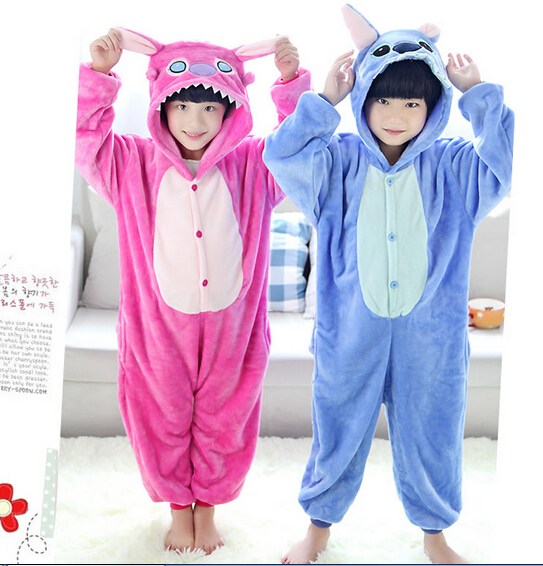 7b25a6823ef5 Animal cartoon LILO and stitch Anime Costume one-piece Pajamas Flannel  Suits Winter fun Cosplay baby Onesie children s sleepwear
