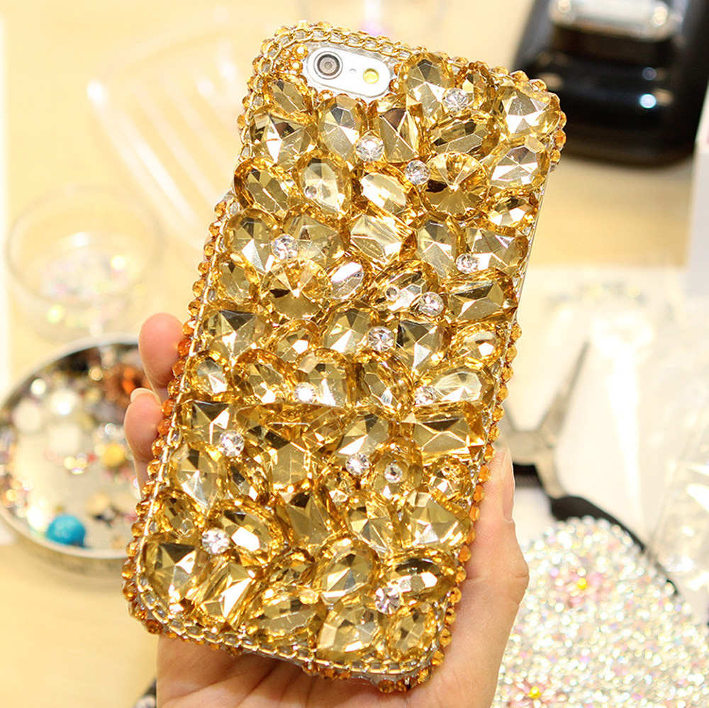 Bling Shiny Girl Lady Style Full Handmad Golden Crystal Diamond Phone Case for iPhone 5s 6s Plus 7 Plus
