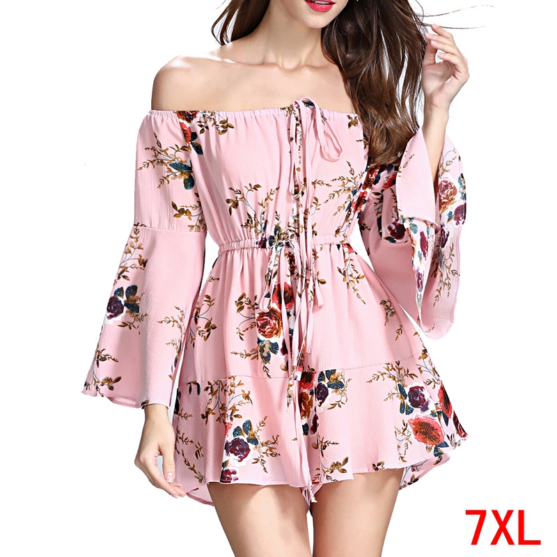 Large Size Women's Jumpsuit Plus Size 4XL 5XL 7XL 8XL Summer Long Sleeve Casual Loose Beach Casual Large Size Pink Jumpsuit