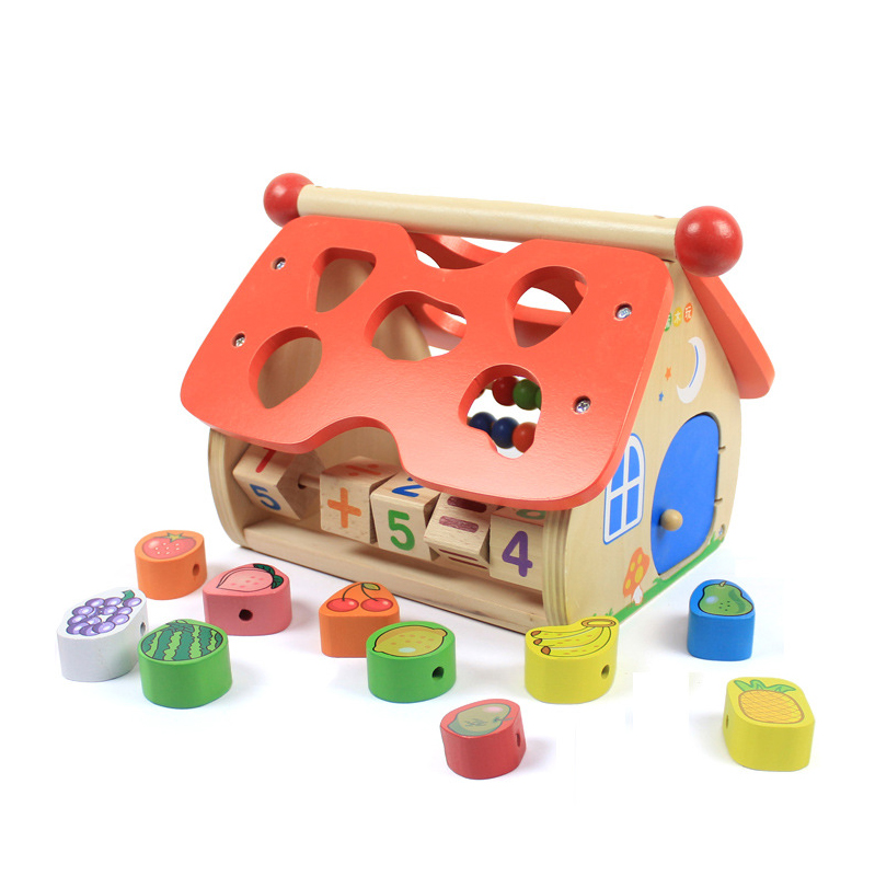 Chanycore Baby Learning Educational Wooden Toys Geometric Shape Fruits Blocks Box Beads Clock Sorting Matching ww Gifts 4135 32 pcs setcolor changed diy jigsaw toys wooden children educational toys baby play tive junior tangram learning set