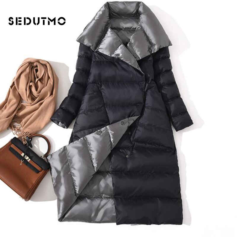 SEDUTMO Winter Plus Size 3XL Ultra Light Womens   Down   Jackets Long   Coat   Double Sided Autumn Puffer Jacket ED761