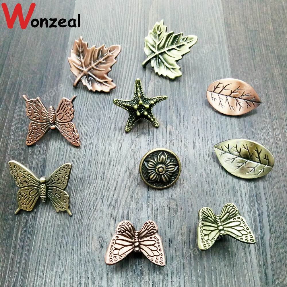 Vintage furniture handle of LeafStarfishbutterfly for Kitchen Cupboard Antique Cabinet Pull Knobs for Dresser Closet drawer