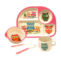 Bamboo Fiber Tableware Set for Children Wheat Straw Supplementary Bowl Baby Plate Separator Baby Water Cup Fork