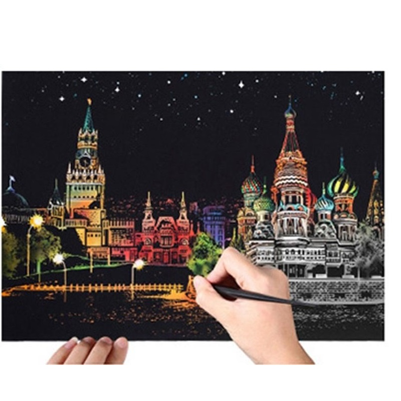 40*28.5 cm Scratch City Night View Scraping Painting Kids Urban Night View Scratch Pictures Paper Painting Birthday Gift 40*28.5 cm Scratch City Night View Scraping Painting Kids Urban Night View Scratch Pictures Paper Painting Birthday Gift