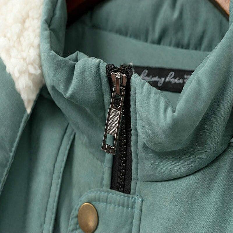 Veste green Irnverno Outwear Féminin Casual Femmes À Chaud Épaissir Manteau Capuchon Nouvelle D'agneau Parkas Bouton Hiver De Casacos Noir 6U4qvU