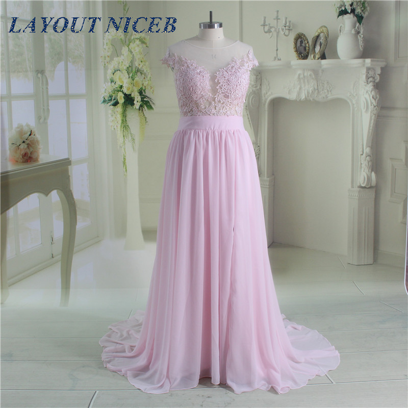 Robe Pink Lace See Through Sheer Chiffon A-Line Evening Dress 2017 Long De Soiree Prom Party Gowns