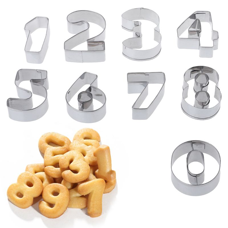 2019 New Cookie Tools 9 Pcs Stainless Steel Numbers Shape Cookie Stencil Biscuit Cutter Tool Set Baking Mode