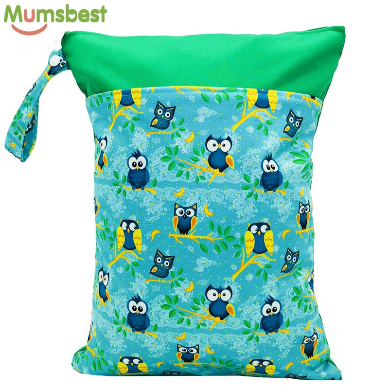 [Mumsbest] 1PC Reusable Wet Bag Washable Cloth Diaper Bag Waterproof Nappy Bags Swim Sport Travel Bags Size:40X30cm(15.7X11.8in)