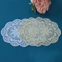 30*42cm(11.8X16.3) Round Crochet hook flower round tablecloth pastoral hollow cotton tablecloths white