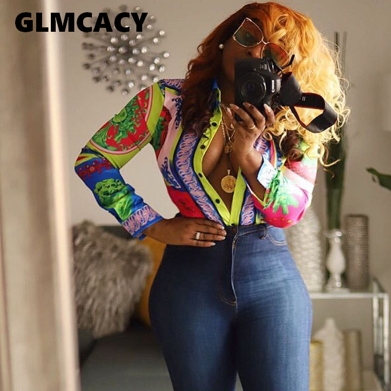 Plus Size Women 2019 Dashiki Printed   Blouse   Long   Shirt   Office Lady Elegant Turn-down Collar Long Sleeve Button   Shirt   Streetwear