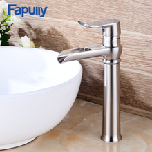 Fapully waterfall mixer tap stainless steel single lever basin faucet tall