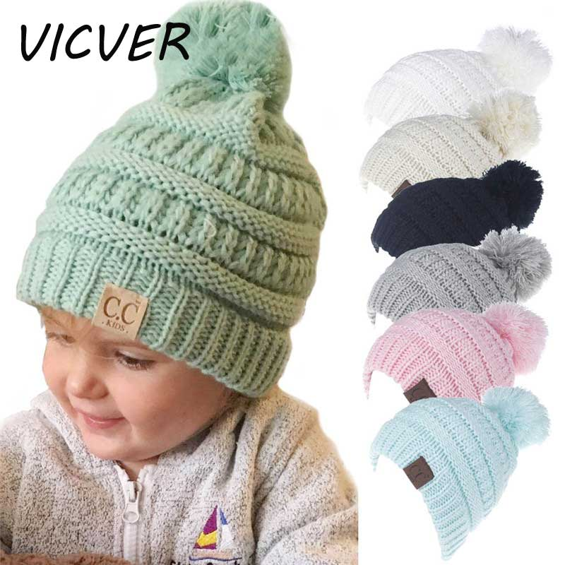 2-6 Years Baby Boys Girls Knitted Pom Pom Hat Children CC Beanies Kids  Winter Cap ... 0c9f0d4b50ba