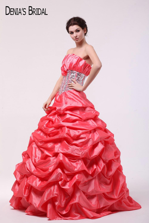 2017 Pink Taffeta Ball Gown Evening Dresses Dengan Sayang Garis Leher Ruffles Beaded Sequin Lantai Panjang Partai Prom Gowns Ball Gown Evening Dress Evening Dressgown Evening Dress Aliexpress