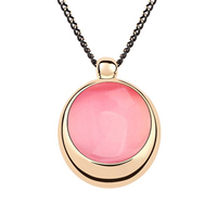 Vintage Opal Round Pendants Necklace Gold Plated Collares For Women Lovers Bijuteria
