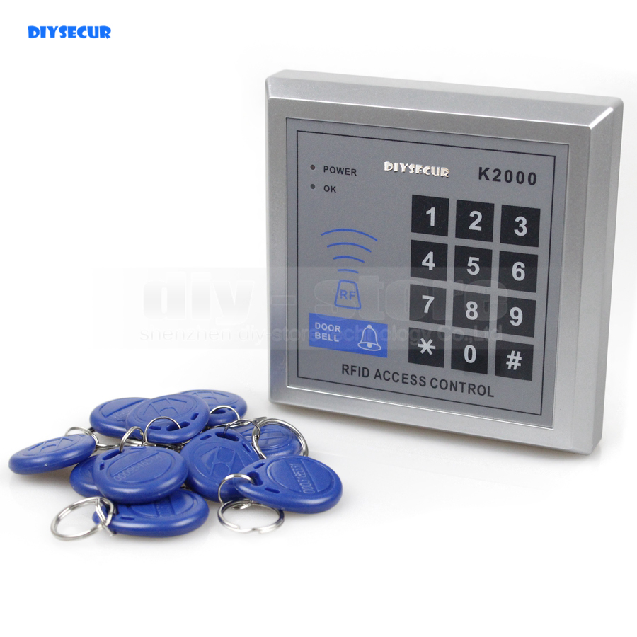 DIYSECUR New RFID Proximity Keypad Entry Lock Door Access Control System + Free 10 Keyfobs K2000