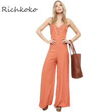 Richkoko Summer Backless Slim Jumpsuit Women Cami Strap Solid Flare Pants Female Brief Sleeveless Contrast Lace Playsuit Ladies