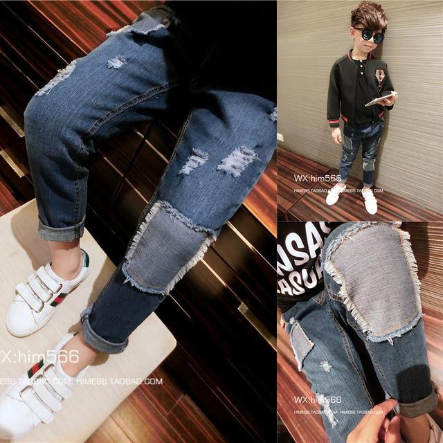 В детская одежда 2017 весной детей новых мальчиков джинсы случайные брюки брюки патч.