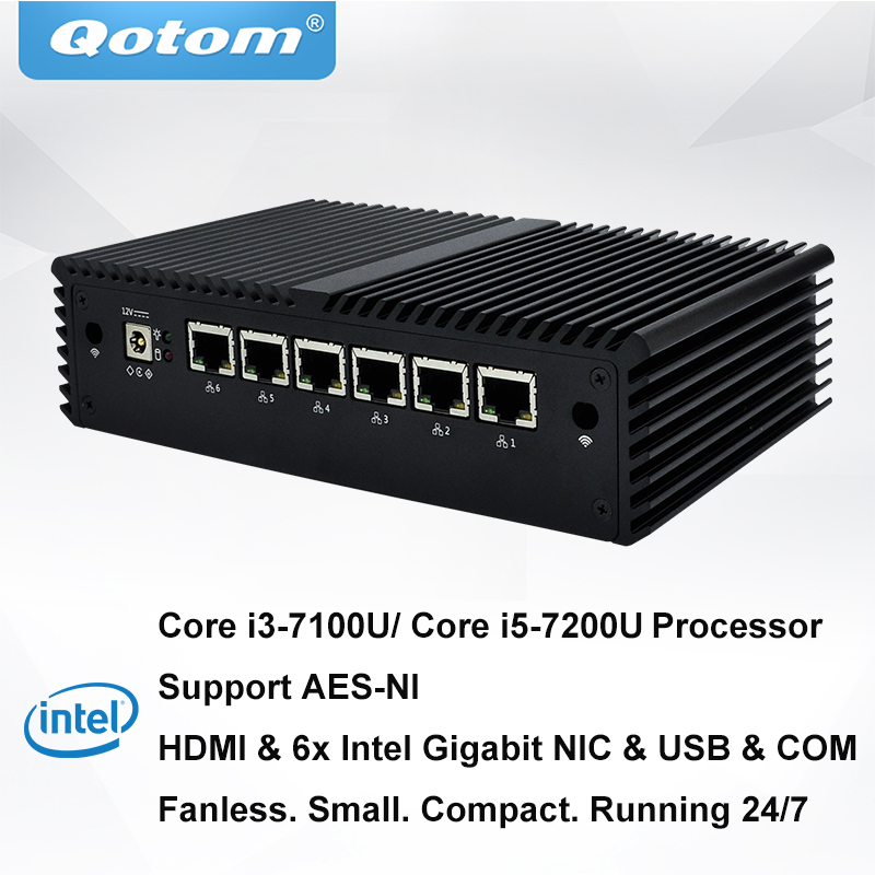 QOTOM 6 Gigabit Lan Mini-pc com 7th Core i5-7200U I3-7100U Processador Dual core 2.4 GHz Preload pfSense Firewall Fanless router