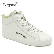 CANGMA Italy Designer Casual Shoes Brand Sneakers Women Durable Original Genuine Leather White Shoes Deluxe Mid Flats Female(China)