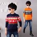 Los niños ropa de primavera y otoño suéter de los niños chicos camisa de punto del todo-fósforo superior básico de la camisa chicos casual sweater niños 4-14Y